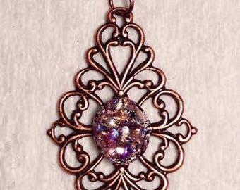 Antiqued Copper and Purple Necklce
