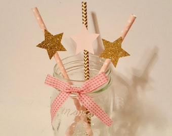 Twinkle Twinkle Little Star paper straws pink gold aqua star party decor