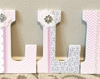 Wooden Nursery Letters - Baby Girl Nursery Decor- Wall Letters, pink, grey, gray, Personalized Baby Shower Gift-The Rugged Pearl