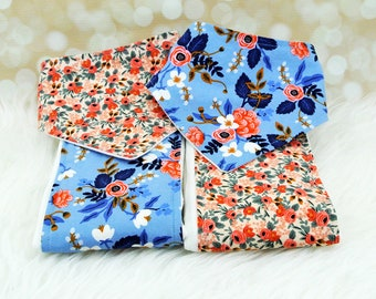 Baby Shower Gift - Baby Bandana Bibs and Burp Cloths Set - Peach Roses & Periwinkle Fleur (or pick your own fabrics)
