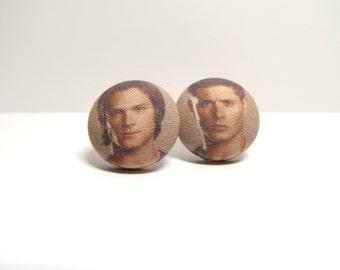 Supernatural Fabric Button Earrings