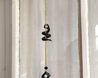 Bell on a Beaded String, Hanging Bell, Black Bell, Ringing Garden Bell, Feng Shui, Glass Spiral, Sun Catcher Bell, Gold Sparkles, Door Bell
