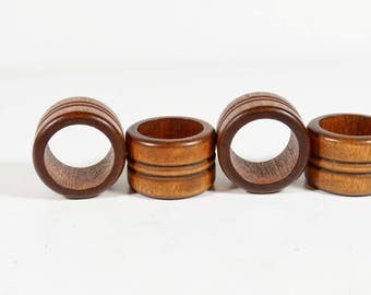 Wood Napkin Rings Set of 4 - Vintage Wooden Napkin Rings