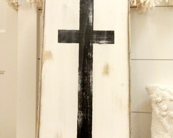 Medium cross and white rustic wood sign