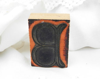 Antique French Monogram Embroidery Ink Rubber Stamp with Letter B, Vintage Sewing, French Decor, Craft Supplies, Retro, Vintage, Home, Craft