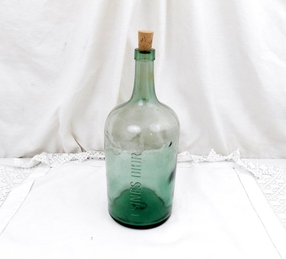 Dior Large Antique French Green Glass Demijohn / Carboy / Bottle from Dior Factory, Shabby, Chateau Chic, French Country Decor, Normandy