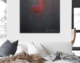 Large Print, Abstract Giclee Art Print of Painting, Large Canvas Art, Grey Pink Wall Art Canvas Print
