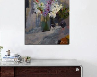 Floral art, Large wall art painting, Still life with Flowers, Painting of gladioli, Oil painting modern floral painting