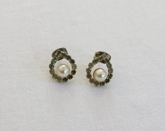 Faux Pearl and Green Diamante Earrings