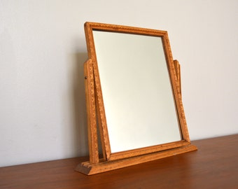 Delightful Vintage Wooden Small Antique Vanity Dressing Table Mirror. Wood Framed  Mirror. Swivel Stand Mirror