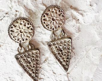 Abstract Indie Earrings/Western/Navajo/Southwestern/Geometric Earrings/Triangle/Circle/Silver Boho Earrings/Tribal/Ethnic/Bohemian Earrings