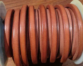 Licorice leather cord, 8 inch/20cm piece, 10x6mm thick leather cord, made in Spain regaliz leather, licorice bracelet leather cords