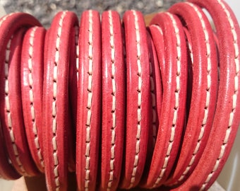 Stitched licorice leather cord, 8 inch/20cm piece, 10x6mm thick leather cord, made in Spain regaliz leather, licorice bracelet leather