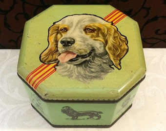 Fab Vintage Keiller's Toffee Tin with Dog, Vintage Antique Tin Box, Green, Canine, Dog Lover Gift, Canine Puppy