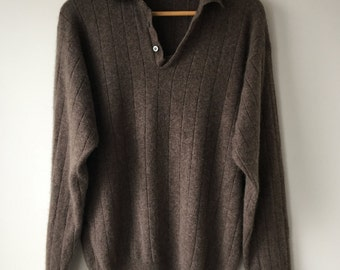 """Brown Cashmere sweater rib knit heathered brown collared ultra soft pullover long sleeves half button up front gift for him chest 46"""""""