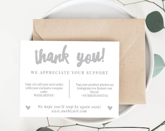 INSTANT Business Thank You Cards, Editable PDF Printable Packaging Inserts for Online Shops, Etsy Sellers | Gray Branding, Adelie | Download