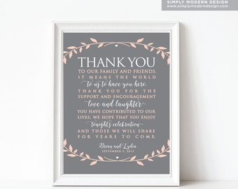 wedding thank you sign, wedding, sign, guest thank you, guest favor, wedding favor, thank you tag, wedding sign, rustic, wreath, PRINTABLE