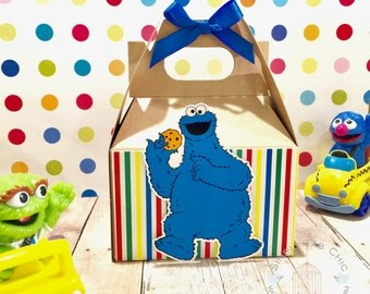 Cookie Monster Favor Box | Birthday Party Treat Box | Snack Box | Party Box | Sesame Street Gable Box