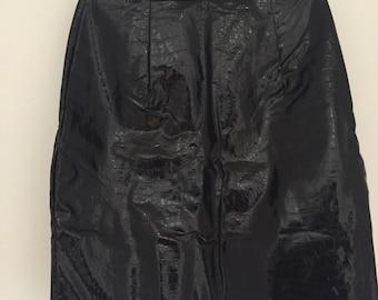 Black Patent Vinyl Faux Snake Leather High Waist Mini Skirt Minimal Grunge