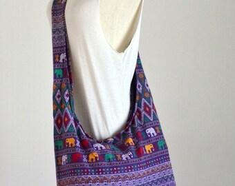 Violet Hippie Elephant Cotton Crossbody Bag Hobo Bag Sling Bag Shoulder Bag Messenger Bag Diaper Bag Zipper Purse Boho Design Women Gift