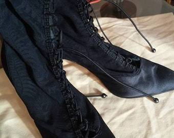 PETRA/Italy/Size M 6 1/2/Black/Victorian/Stretch/Lace/Heels/Boots/Witch/Goth/Eduardian
