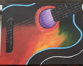 Acoustic Guitar Print On Canvas