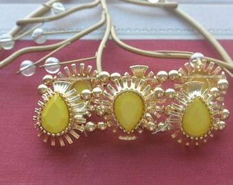 Persian Bracelet - Ornate Gold Tone, Yellow Teardrop Stones - Vintage - Fabulous!