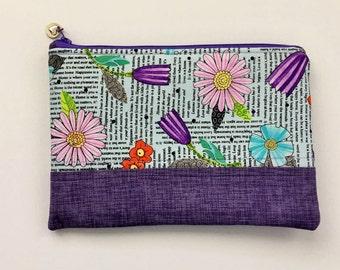 Purple Zipper Pouch, Newsprint Zipper Pouch, Floral Zipper Pouch, Quilted Zipper Pouch, Purse Organizer, Makeup Bag, Pencil Case