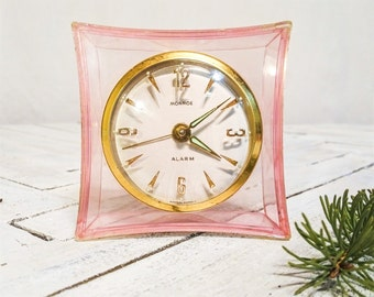 Vintage Lucite Pastel Pink Monroe Skeleton Alarm Clock, West Germany, Luminous Hands and Time Markers