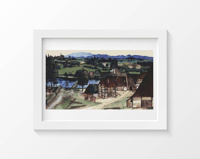 Cross Stitch Pattern PDF, Embroidery Chart, Art Cross Stitch, Architecture, Wire Drawing Mill by Albrecht Durer (DURER03)