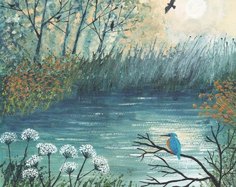 Print of river in autumn with Kingfisher from an original acrylic painting 'King of the River' by Jo Grundy