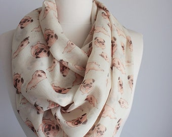 Pug Dog Puppy Infinity Scarf Circle Scarf Loop Scarf Gift For Her Wife Daughter Christmas Autumn Spring