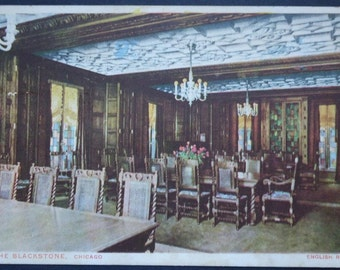 The Blackstone Hotel, Chicago, Illinois, English Room 1923, Vintage Postcard