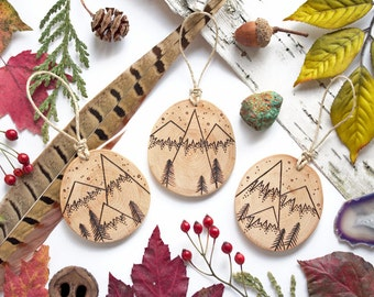 """Set of 3 - Personalizable Mountain Ornaments - SMALL 2.25"""", Natural Wood-Burned Ornaments, Customized Wood Ornament, Personalized"""