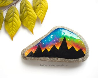 """Mountain Painted Rock, 4"""" by 2.25"""" Hand-Painted Stone, Painted Mountains, Rainbow Painting, Rainbow Mountain Painting, Nature Painting"""