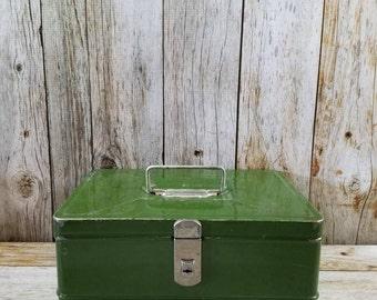 VINTAGE GREEN METAL Storage Box
