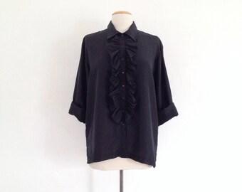 black silk blouse vintage black shirt women ruffle shirt 90s button up black blouse 90s clothing