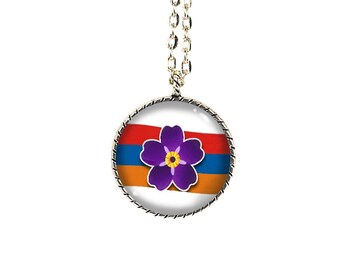Armenian Genocide, Forget me not flower, Anmoruk, Armenian Gifts, Armenian jewelry, Armenian necklaces, Armenian necklace, Armenian Flag