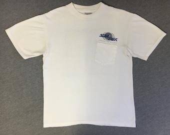 STAR TREK Shirt 1991 Vintage/ 90's Federation Science Glaxay Class Starship Dock Pocket Tshirt/ Paramount Pictures Trekkie Tee/ UsA Medium