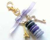 Amethyst Macaron Trio Eiffel Tower Keychain, Purple, Black, Purse or Bag Charm, Cute And Kawaii :D