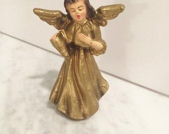 Gold Angel for Creche, Vintage Angel, Paper Mache Angel, Musical Angel, Vintage Creche Figure