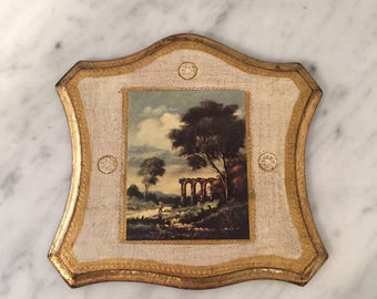 Superbe Vintage Florentine Wall Decor, Italian Wall Decor, Classical Wall Hanging,  Gilt White Wall
