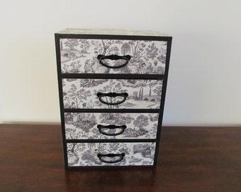 Black Jewelry Box - with Black & White Toile Pattern