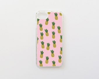 iPhone 7 Case - Pineapples in Pink iPhone Case - Tropical iPhone 7 Case - Hard Plastic or Rubber
