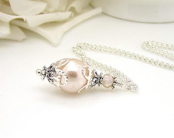 Blush Bridesmaid Sets, Simple Wedding Jewellery, Blush Pearl Drop Pendant, Bridal Party Gifts, Pearl Bridal Necklaces,