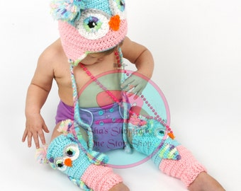 Owl Hat and Legwarmers Crochet Owl Baby
