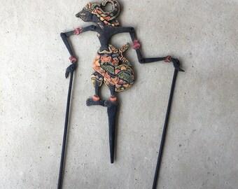 Vintage Indonesian Wooden Wood Wayang Kulit Purwa Pandawa Shadow Puppet Nokula Nakula L0217C75