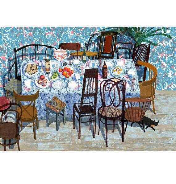 Family Dinner Poster Food Home Decor Kitchen Art Bar