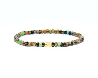 Beaded Bracelet in 18K Solid Yellow Gold - Beach Boho Stretch Cord - African Czech Glass Beads - Men Women Unisex Gift Him Her