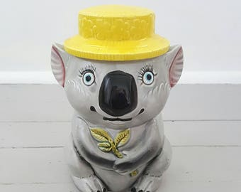 Vintage Koala Cookie Jar Ceramic Japan 1960's